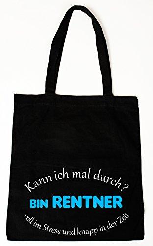handmade-in-nb Baumwollbeutel Tasche Bag - Kann ich mal durch - Bin Rentner. - witziger Spruch (Lange Henkel)