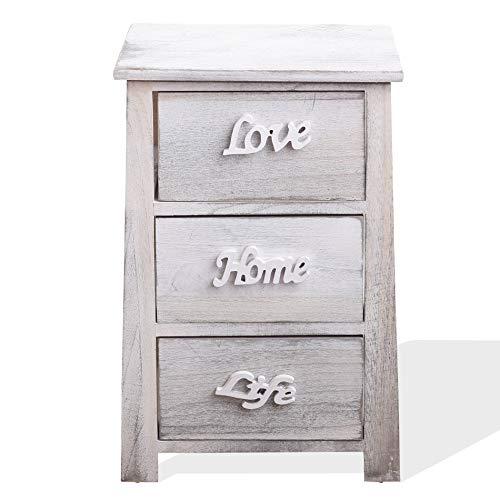 Rebecca Mobili Nachttisch für Schlafzimmer, Nachtschrank mit 3 Schuablden, Weiß Grau, Shabby-Stil, Wohneinrichtung – Maße: 57 x 37 x 27 cm (HxLxB) - Art. RE4565