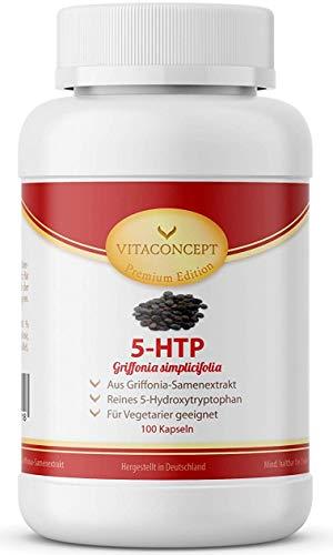 5-HTP - 200mg hochdosiertes Griffonia Simplicifolia Extrakt pro Kapsel - 100 Vegane Kapseln - aus Original Griffonia Simplicifolia Samen von VITACONCEPT