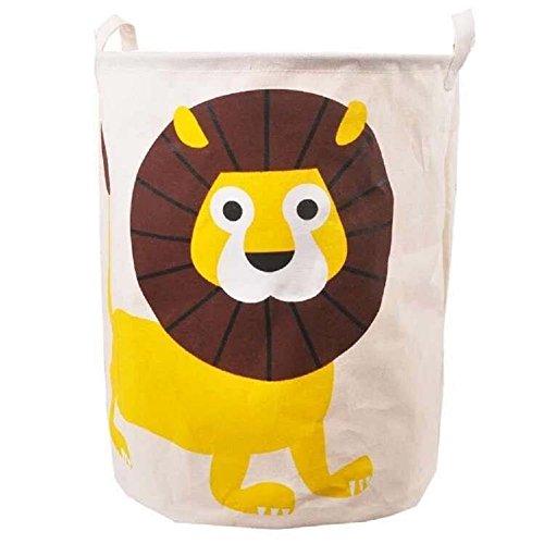 Sfghouse Grande cesto in misto lino per la biancheria o per organizzare i giocattoli, con manici e stampa a cartone animato Lion
