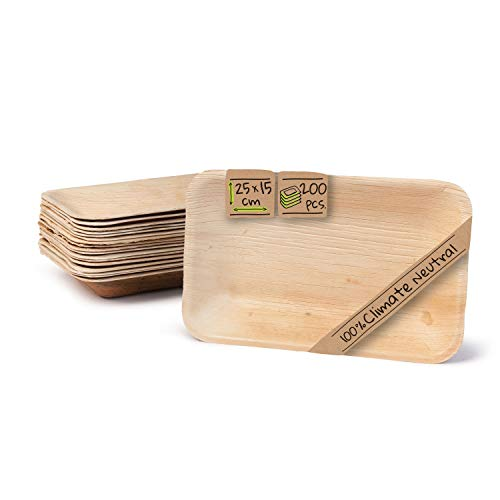 BIOZOYG Palmware - hochwertige Einweg Suppenteller tief rechteckig I 25 x 15 cm 200 Stück Snackschale Palmblattgeschirr Pastateller Salatschale I kompostierbares Einweggeschirr biologisch abbaubar