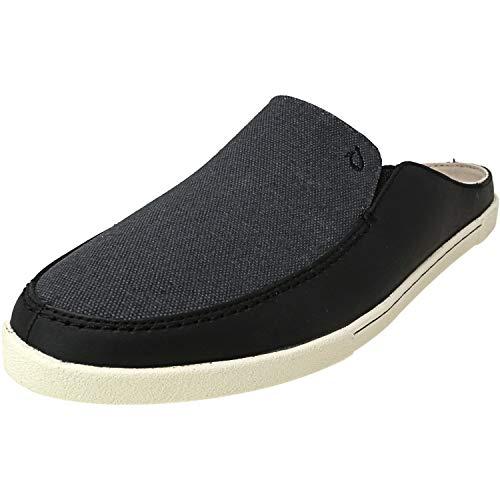 OluKai Huaka - Women's Canvas/Leather Slip-on Comfort Shoe Black/dk Shadow - 6.5