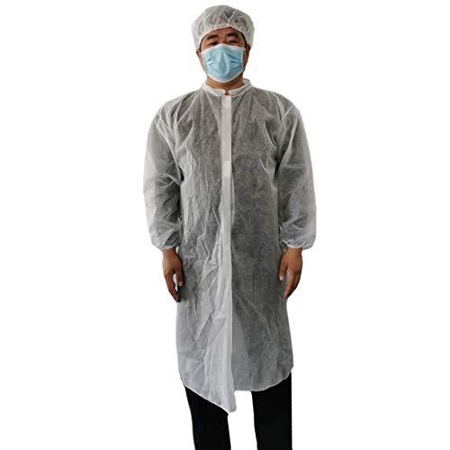 Einweg Ganzkörper Schutzanzug Schutz Overall Coverall Coverall für Unisex, Elecenty Einweg-Isolationskleidung Anti-Staub-Langarm-Bluse mit Hut Atmungsaktiv Notfall-Regenmantel