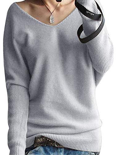 Kaschmir Pullover Damen V-Ausschnitt Oversized Pullover Strickpullover Oberteil Damen