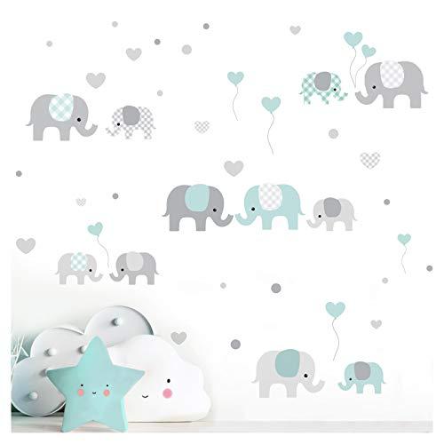Little Deco Wandaufkleber Kinderzimmer Junge Mädchen Elefanten Grau Mint I Zwei A4 Bögen I Wandtattoo Deko Aufkleber Babyzimmer Wandsticker Jungs Sticker DL340