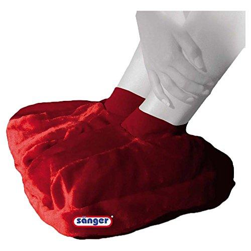 Fußwärmer aus Plüsch mit 2,0 L Wärmeflasche, Fußwärmflasche, Wärmetherapie, rot