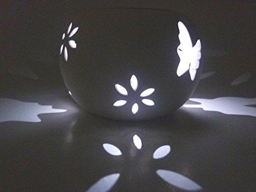 LED-Solar-Garten-Windlicht Schmetterling weiß Keramik Solar-Tisch-Boden-Balkon-Terrassen-Treppen-Mauer-Pool-Leuchte-Lampe