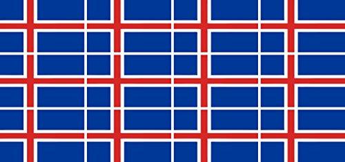 Mini Aufkleber Set - Pack glatt - 50x31mm - Sticker - Fahne - Island - Flagge - Banner - Standarte fürs Auto, Büro, zu Hause & die Schule - 12 Stück