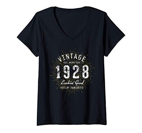 Donna Nato nel 1928 Vintage 93° compleanno Maglietta con Collo a V