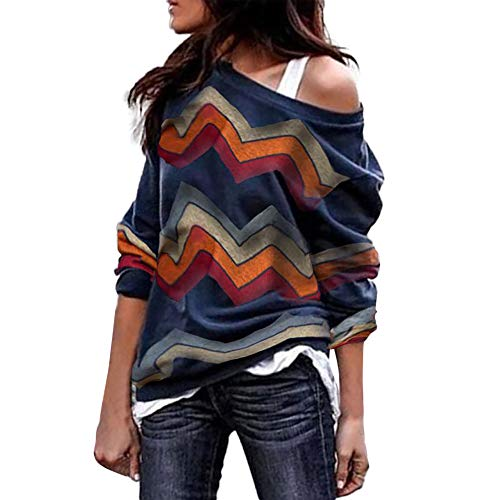Innerternet Damen Pulli Langarm T-Shirt Off Shoulder Lose Bluse Hemd Pullover Oversize Sweatshirt Oberteil Tops Herbst Winter Warm Strickpullover