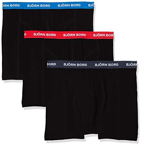 Björn Borg Herren Shorts NOOS Contrast Solids 3p Boxershorts, Schwarz (Black 90012), XL (3er Pack)