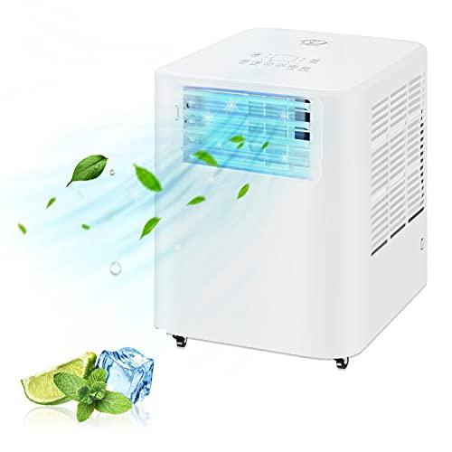 Famgizmo | 3 in 1 LED Klimaanlage Mobiles Klimagerät kühlen, Luftentfeuchter, lüften, Ventilator | 9000 BTU | 3 Ventilationsstufen | 24h Timer | EEK: A | R290 | Fernbedienung | Geräuscharm | Weiß |