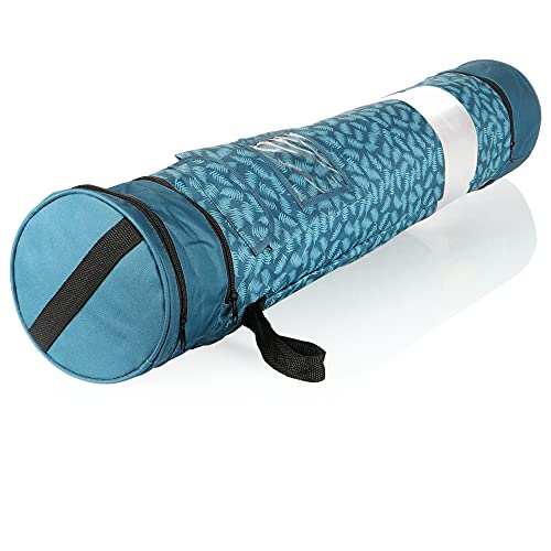com-four® Geschenkpapier Aufbewahrung - Geschenkpapier Organizer - Geschenkpapiertasche - Aufbewahrung für Geschenkpapierrollen (blau/weiß)