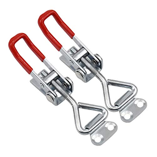 Fodlon 2 Stück Einstellbare Kniehebelspanner, 100KG/220lbs Metall Hebel Verschluss Spannverschluss Kistenverschluss Kappenschloss Halteklaue Halten Kapazität Latch Button Toggle Latch