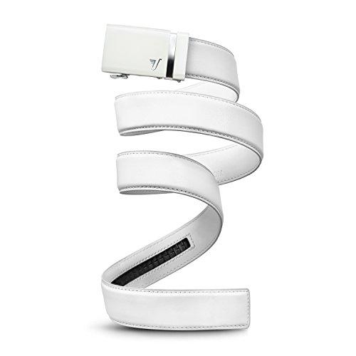Mission Belt Men's Ratchet Belt - Alpine 40 - White Buckle/White Leather, Large (36-38)