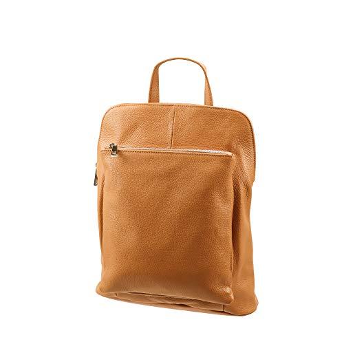 SH Leder 3in1 Handtasche Rucksack Damen Schultertasche Umhängertasche aus Echt genarbt Leder (B29cm x H35cm x T11cm) Leonie G688 (Cognac)