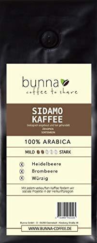 BUNNA COFFEE - PREMIUM KAFFEE – SIDAMO - INTENSIVES AROMA - 100% ARABICA BOHNEN AUS ÄTHIOPIEN, FRISCH GERÖSTET, STÄRKE 2, 500 g.