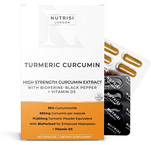 Turmeric Curcumin (95% CURCUMINOIDS ONLY) + BioPerine + Vitamin D3 | 1400mg Curcumin Extract per Serving | HIGH Strength 700mg x 60 Capsules | Strongest Curcumin Supplement Only Active Ingredient