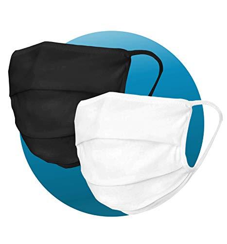 2 x Pack der Gesicht-Abdeckung waschbar   Mundschutz aus 101% Bio-Baumwolle für Mund & Nase in weiß-schwarz (dick und dünn) für Erwachsene   Handmade Produkt und Wiederverwendbare Mund-Abdeckung