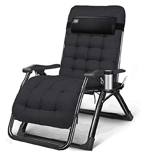 MTCWD Silla Plegable reclinable Textilene jardín Tumbona de Playa Sillas de Cubierta Ajustable Gravedad Cero al Aire Libre portátil (Color : with Cushion|Black)