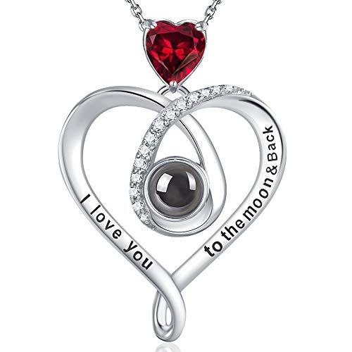 GinoMay Granat Halskette Geburtstag Geschenke Mutter Frau Ich liebe dich Halskette 100 Sprachen 925 Sterling Silber Januar Geburtsstein