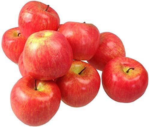 Frutas artificiales decorativas de manzana (rojo, 10 unidades)
