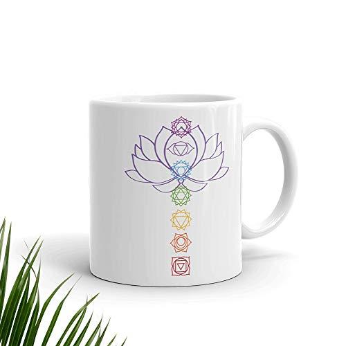 N\A aza de Chakras arcoíris de Flor de Loto Taza de Chakras Alineada Taza de Flor de Loto Taza de meditación Taza de Yoga Taza Espiritual