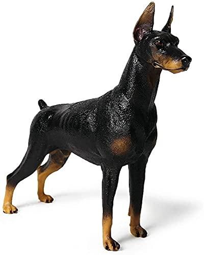 RAN-Esculturas Doberman Pinscher Modelo Esculturas, Pet Dog Figurine Estatua Estatua Decoración de la decoración Adornos Niños Juguetes Regalo (Color : Black)