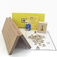 人気ナンバー1の木製将棋セット P製根付け付新桂7号折将棋盤と優良押し将棋駒