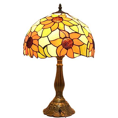 ZHANGYUNSXD Lámpara de Vitral Tiffany Lámpara de cabecera Tabla Girasol Stained Glass Tabla lámpara Decorativa for Sala de Estar Dormitorio de café Mesita Noche Tiffany Vitral