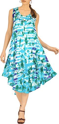 LA LEELA Nightwear Top Vestito delle Donne Allentato Flowy d'Estate sulla Spiaggia Tunica Turchese_A806 M-XL
