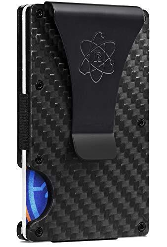 ROSSM Slim Minimalist Front Pocket RFID Blocking Carbon Fiber Metal Wallets for Men with Money Clip and Cash Strap