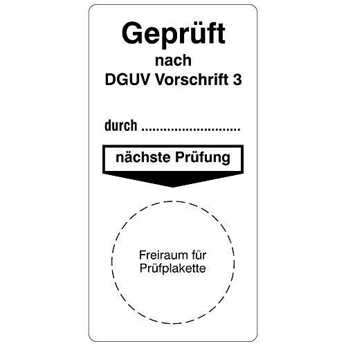 Labelident Grundplaketten für Prüfplaketten 40 x 80 mm - Geprüft nach DGUV Vorschrift 3-100 Grundetiketten in der Packung, Vinylfolie, weiß, selbstklebend