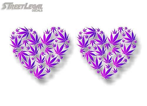 2 Love Cannabis Heart Decals Stickers Marijuana Pot Weed Leaf Bong Grinder Vinyl Sticker Vehicle 4x4 Truck Decals (Purple on Clear)