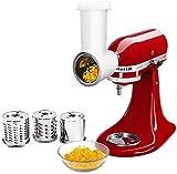 Aikeec Tranchoir/Râpe à Cylindres pour KitchenAid, pour Préparations Fraîches pour Robot Pâtissier (Accessoire en Option pour Les batteurs sur Socle KitchenAid) Acier Inoxydable