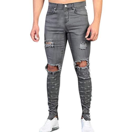 Hombre Bmeig Jeans Ajustados Hombre Rotos Pantalones De Mezclilla Elasticos Slim Fit Ripped Desgastados Con Bolsillo Trabajo Hiphop Pantalones De Chandal Cargo Invierno Negro M 4xl Ropa Brandknewmag Com