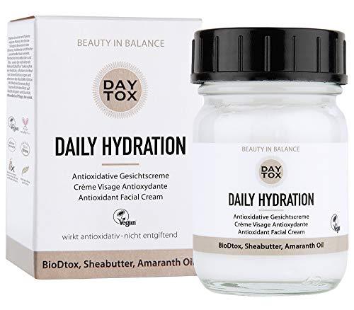 DAYTOX - Daily Hydration - Antioxidative Feuchtigkeitscreme mit Sheabutter, Amaranthöl und Hyaluron, Schutz vor freien Radikalen - Vegan, ohne Farbstoffe, silikonfrei und parabenfrei - 50 ml