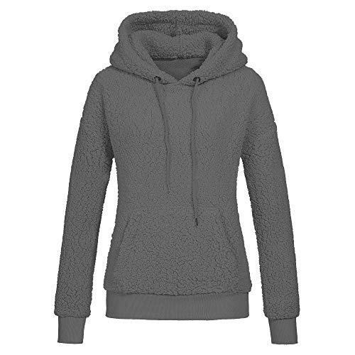 HOMEBABY Dames Warm Wol Hoodie Flanellen Casual Zachte Fleece Hooded Sweatshirt Dames Fluffy Jas Lange Mouwen Tops Sport Workout Fitness Pullover Jumper Blouse Jas