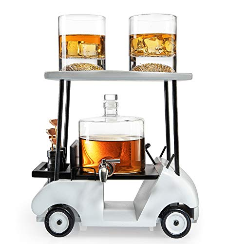 Golf Decanter Whiskey Decanter and Whiskey Glasses - The Wine Savant, Golf Gifts for Both Men & Women, Based on A Wooden Replica Golf Cart,...