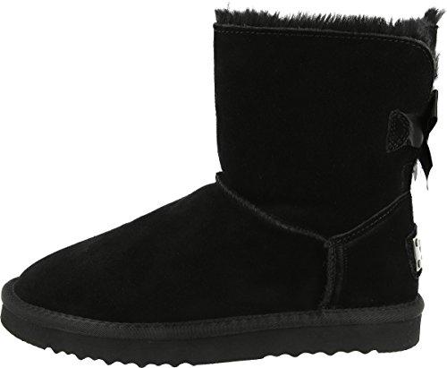 OOG Damen Leder Schlupfstiefel | warme gefütterte Single-Bow-Boots `Mini´ Stiefeletten | Winter-Schneestiefel mit einer Schleife (39, Schwarz)
