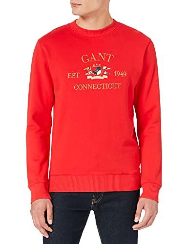 GANT D1. Flag Crest C-Neck Sweat Sudadera, Rojo Brillante, L para Hombre