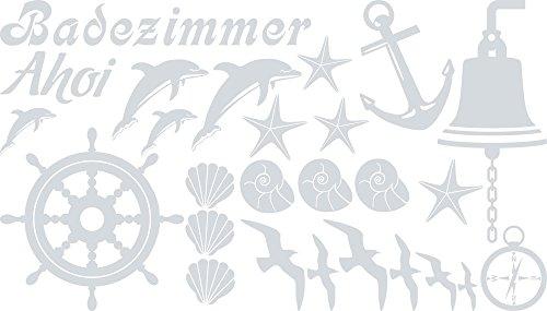 GRAZDesign Badezimmeraufkleber AHOI Steuerrad Anker Möwe, Bad Fliesen Aufkleber Maritime Deko, Wandtattoo Bad Badezimmer WC Muscheln Delfine / 100x57cm 072 hellgrau