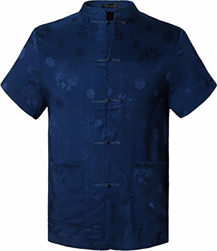 jeansian Herren Fashion Casual Chinese Traditional Short Sleeves Tang Shirt Cardigan Tops L900 Navy XXL [Apparel]
