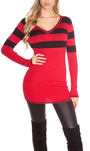 Damen Long Pulli, Pullover oder auch über einer Leggins als gestreiftes Minkleid tragbar, Einheitsgröße 32-38 (900102 rot)