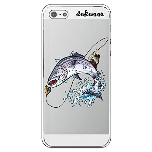 dakanna Custodia per iPhone 5-5S - SE | Salmone Pescatore | Cover in Gel di Silicone TPU Morbido di Alta qualità con Sfondo Trasparente