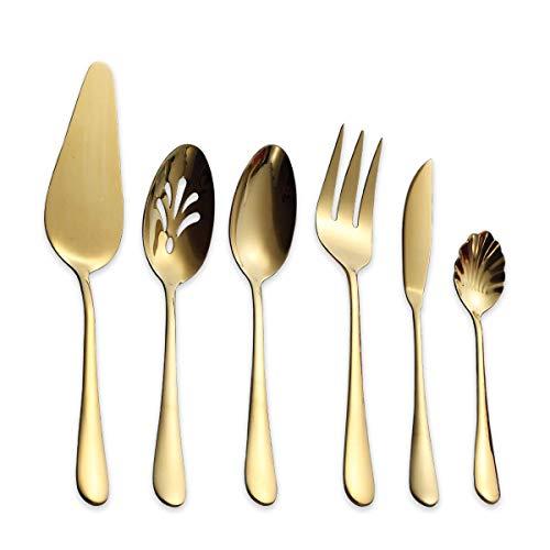 Berglander Stainless Steel Golden Titanium Plated Flatware Serving Set 6 Pieces, 5 Serving Pieces of 45 Pieces Flatware With 1 Cake Server, Golden Serving Silverware Set (Shiny Golden)