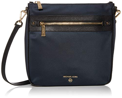 """9-3/4""""W x 9-1/4""""H x 2-1/2""""D; 23""""L adjustable removable strap Zip closure; Gold-tone exterior hardware, 1 snap pocket & 1 zip pocket 4 interior slip pocket & 1 zip pocket; Leather/nylon Style Number: 32H9GT9C3C Imported"""