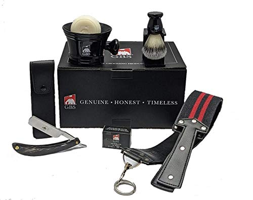 """Shave Ready Straight Razor 6/8"""" Premium Black Edition Horn Carbon Steel Straight Edge Blade, Leather Case and Strop,Brush, Stand, Ceramic Mug and Soap Ultimate Classic Vintage Beard & Wet Shaving Kit"""