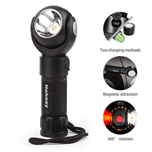 Nakeey LED Taschenlampe USB Aufladbar 360 grad Taschenlampe maglite mit 7 Modi und Lange Arbeitzeit, IP67 Wasserdicht Zoombar für Outdoor, Wandern, Camping Wandern und Notfälle