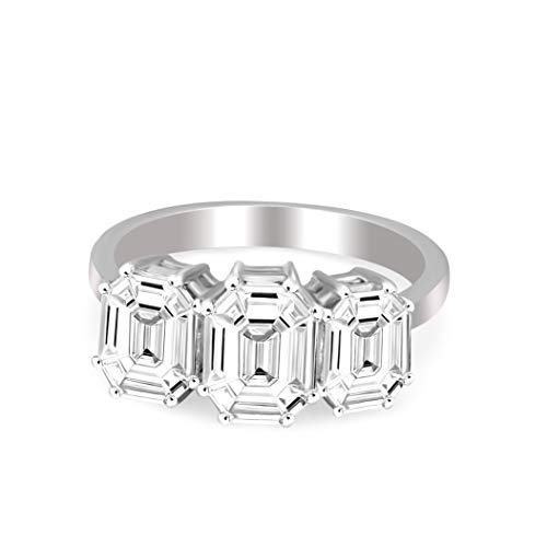 Natural Diamond Ring 14K White Gold 1 1/3 carat 100% Real Diamond 3 Stone Pie Cut Ring For Women ( 1 1/3 CTTW, HI Color, SI1 Clarity Diamond Jewelry For Women)
